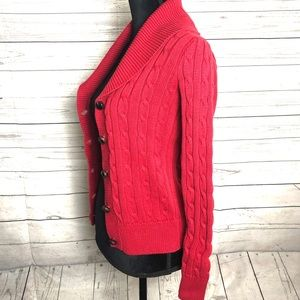 Ralph Lauren Sport Red Shawl Collar Cardigan Sz S